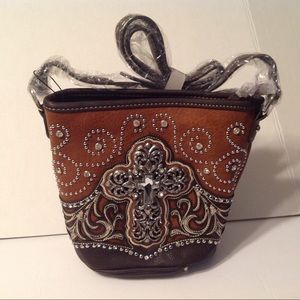 Montana West Cross Brown Bucket Crossbody Bag